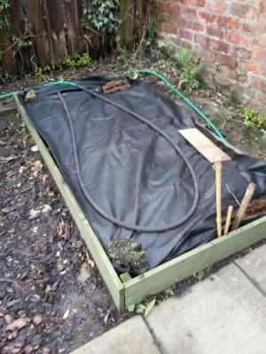 Raised veg bed with weed control fabric